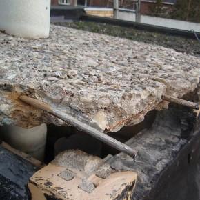 Repareren van beton bij schoorstenen